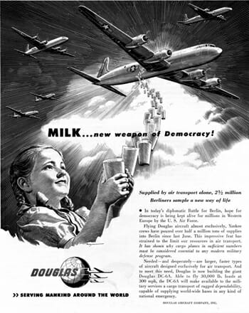 """Milk... New Weapon of Democracy"" ad from the 1940s. (public domain)"