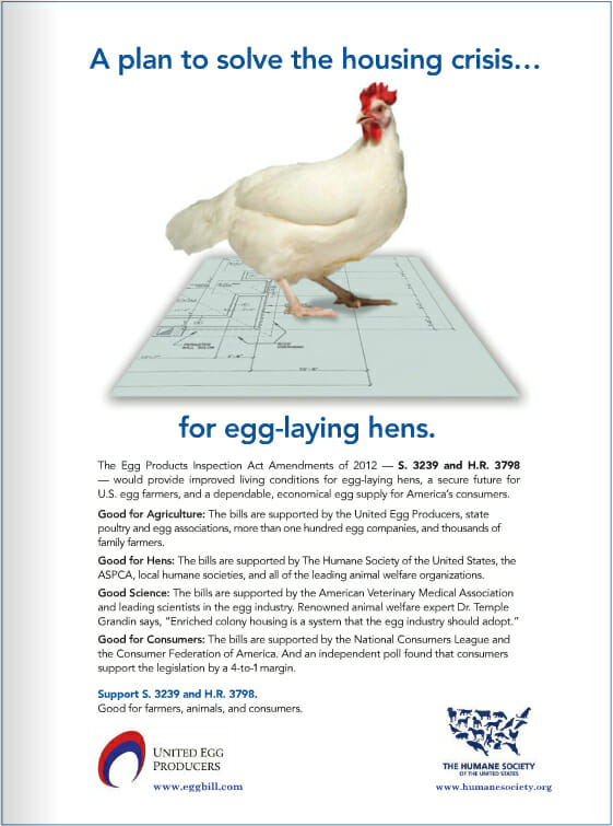 the advertisement that is currently being run by The Humane Society of the United States and United Egg Producers