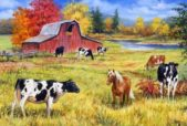 farm animals on pasture drawing. paleo diet