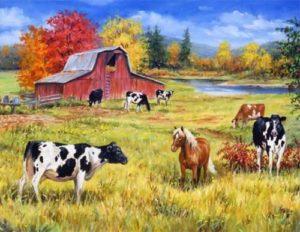 farm animals on pasture drawing. paleo diet