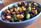 Adzuki bean salad with spicy chipolte dressing. Adzuki beans pack 11 grams of protein in just a small 1/4 cup serving, far more protein by weight than red meat and loads of iron, potassium and other essential nutrients and 26% of your fiber needs for the day!