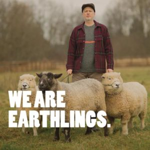 wfm earthlings poster of sheep and shepherd