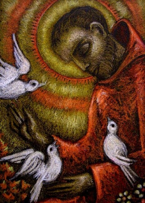 """St. Francis of Assisi with Doves"""