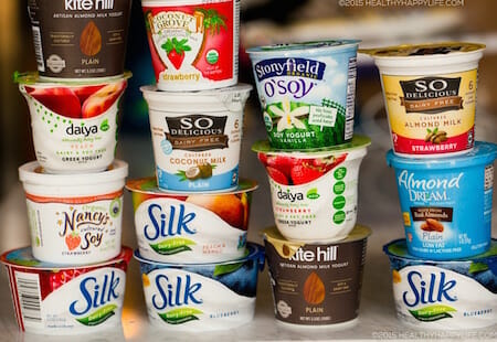 Vegan yogurts. Photo by Kathy Patalsky/ Healthy Happy Life.
