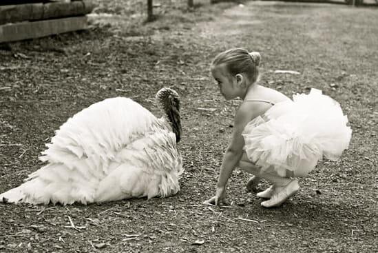 girl with turkey friend vegan thanksgiving