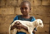 Heifer International girl with baby goat