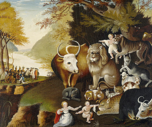 "Edward Hicks, ""Peaceable Kingdom."" Public domain."