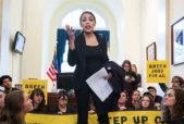 Alexandria Ocasio-Cortez speaks to green new deal activists