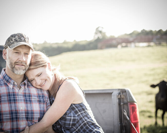 couple together on farm